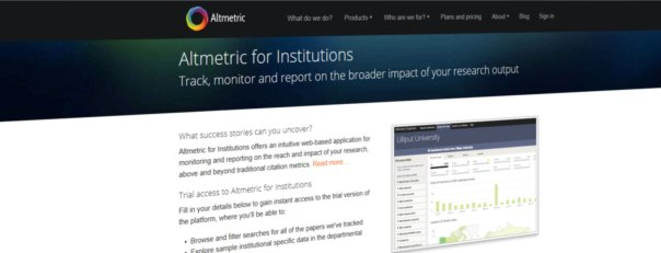 Altmetric website screen
