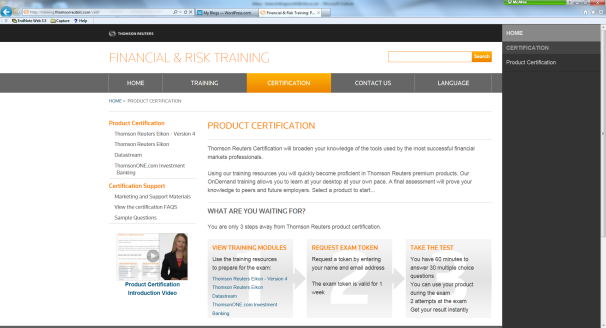 Thomson Reuters Product Certification Page