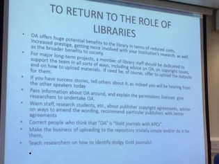 OA Advocacy 1 - To return to the role of llibraries