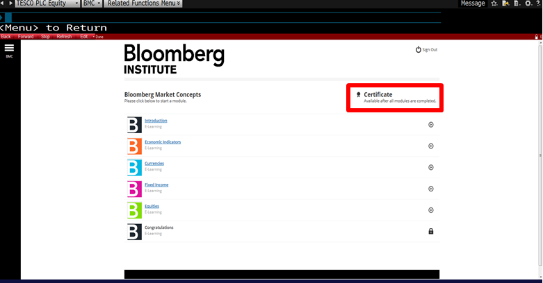 bloomberg terminal certification answers